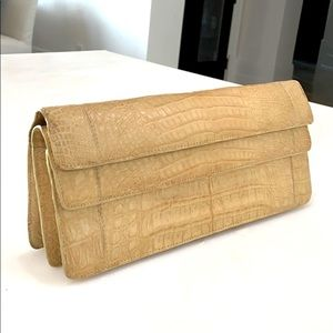 NANCY GONZALEZ Shoulder Clutch Tan Leather…